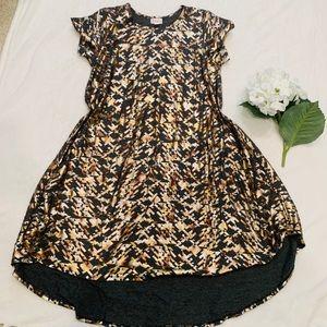 Lularoe Gray Carly Dress Metallic Geometric Size M